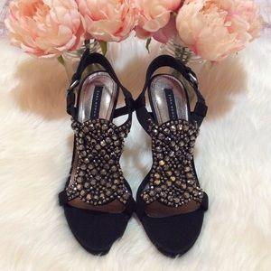 Zara Black Embellished Heels